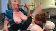 Tits pin-ups Mature redhead fucks her girlfriend with a rolling pin