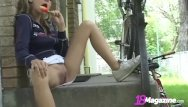 Popsicle girl naked - Little titty andi pink licks popsicle shows pussy