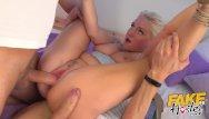 Big boob italian Fake hostel italian blonde with big boobs takes takes two big cocks