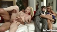 Swinger slutwife blackmailed husband Pale swinger wife nikki delano rammed by a stud for husbands entertainment