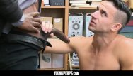 Young smooth gay twink speedo undies - Youngperps - security guard stuffs a thiefs smooth hole with black cock