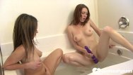 Lesbian stripping and having sex in bathtubvideos Horny brunette lesbians have a bathtub session