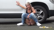 Highland park nj teen car accident Blonde pissing next to a parked car