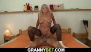 Granny play with strangers cocks - Very old blonde granny in stockings rides strangers cock