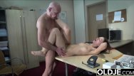 Cum in mouth open shot - Teen open mouth cumshot and swallow after riding old man cock