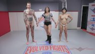 Board shorts and matching bikini Wrestling match with asian mia dominating a guy at evolved fights