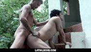 Gay black studs fuck Latinleche - tattooed stud fucks a sexy latino boy outdoors