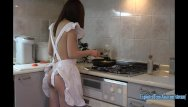 Vintage graniteware bed pan Jav amateur babe maya squirts into frying pan then fucked in the kitchen