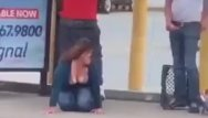 Drunk stripped naked passed out - Drunk fucks homeless out bus stop