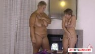 Lesobian sex games Bbw and her busty milf friend play a naughty game while hubbies away