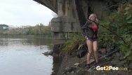 Jrg bikini under the bridge Blonde pissing under the bridge