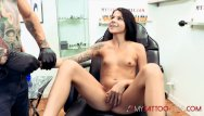 Erotic tiny Tiny babe sadie pop gets tattooed then fucked hard
