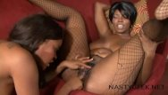 Shitty lesbian dildoes Horny ebonies squirt on the sofa with big purple dildo