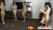 It lesbian on Its a group thing 5 girls challenge each other to a strip off game