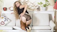 Stocking heels pussy - Perky blonde michelle moist finger fucks tight pussy in stocking tops heels
