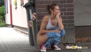 Girl pissing in public story - This babe pees in the city