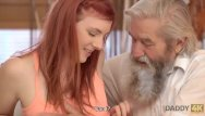 Younge teen sex - Daddy4k. lovely redhead has crazy sex with old man while watching tv