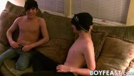 Twink first time filled with cum Young men kiss before performing sloppy oral and handy time