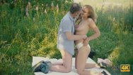 Mature ribbonwood Old4k. beautiful redhead with glasses rides old dick in the woods