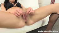Young brunette puffy breast Veiny red dildo for young vixen