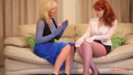 Customer service xxx thumbs Red xxx and her girlfriend fuck while wearing nylons