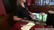 Gorgeous blonde bartender is talked into sex