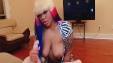 Busty Ebony With Ipmressive Hair Color Jerks