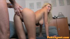 FakeAgent Busty Blonde Babe gets jizzed over