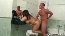Huge titted mom in law pleases him