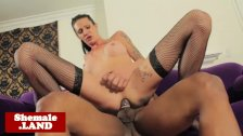 Tgirl Morgan Bailey assfucked on couch