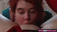 Hairy lesbian redhead and shaved plumper fuck