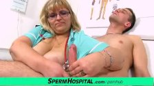 Plumper lady Anna jerking off a boy at clinic