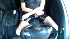 Young Wanking In Black Latex In Car