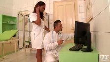 Clinical Threesome - Doctor Knocks the Back
