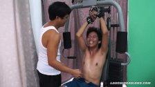 Asian Boy Idol Tickled On The Gym