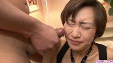 Akina Hara sucks on several dicks in a series of sloppy oral scenes