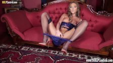 Hot blonde in nude heels lingerie with nylons before panties off pussy play