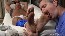 Hands and feet tied dude gets worshiped