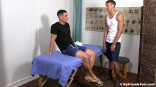 KC enjoys a relaxing foot massage combined with foot worship