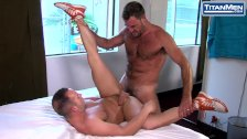sayUNCLE: Hairy muscle uncle Anthony London fucks Luke Adams tight ass