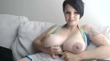 big tits skinny white girl with huge boobs posing on webcam