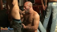 Two oldies invite escort boys for a hot gay orgy