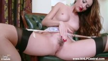 Brunette strips to sheer nylons heels trimmed pussy framed for wanking over
