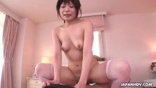 Lingerie wearing brunette rides that cock like a princess