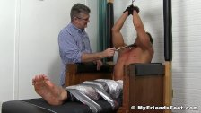 Muscle stud restrained and tickled hard