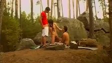 Hot dude gets threeway sex from big dick twinks in the woods