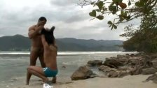 Hunk Fucks Horny Latino beside the Beach