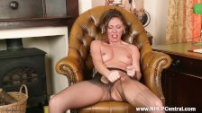 Office tease French Chloe plays with wet natural pussy in ripped pantyhose