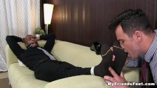 Bound black stud toe licked by a homosexual freak show