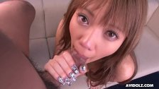 Adorable Asian babe Hina Otsuka smashed up her wet slit